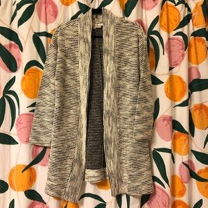 Loft white & black long knit open cardigan